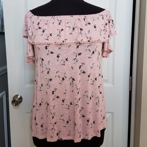 Lane Bryant Pink Floral Cold Shoulder Top: 14/16